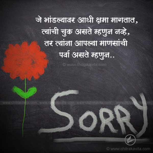Sorry Marathi Relationship Quote Image